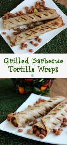 Grilled Barbecue Tortilla Wraps are lightly grilled and displayed in two photos one above the other.