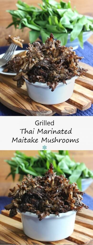Grilled Thai Marinated Maitake Mushrooms glisten with a flavorful Asian marinade. One of the best sides for the grill. You will be amazed!