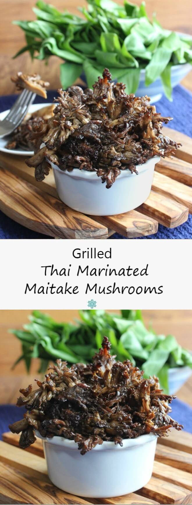 Grilled Thai Marinated Maitake Mushrooms are glistening with a flavorful Asian marinade.  A great tasting side for the grill or grill pan.