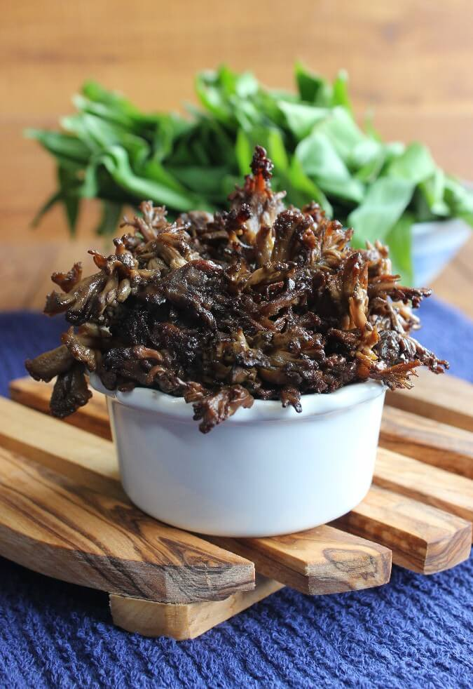 Grilled Thai Marinated Maitake Mushrooms glisten with a flavorful marinade. One of the best sides for the grill or grill pan. You will be amazed!