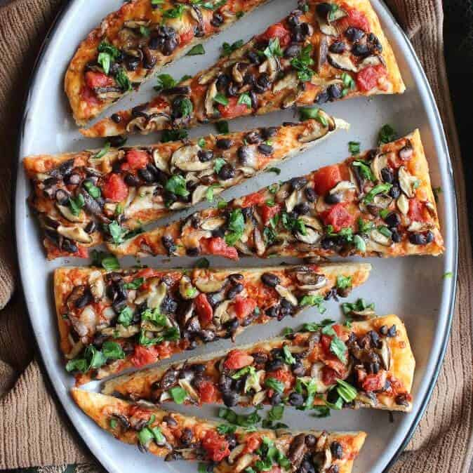 Mexican Style Baby Shiitake Mushroom Pizza uses naturally spicy Shiitake mushrooms.