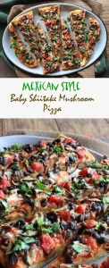 Mexican Style Baby Shiitake Mushroom Pizza has a good head start with the use of naturally spicy Shiitake mushrooms. Just layer a few more goodies for a great, easy and unusual pizza.