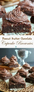 Peanut Butter Chocolate Cupcake Brownies are the best of four worlds. Rich chocolate brownies and a creamy chocolate peanut butter frosting.