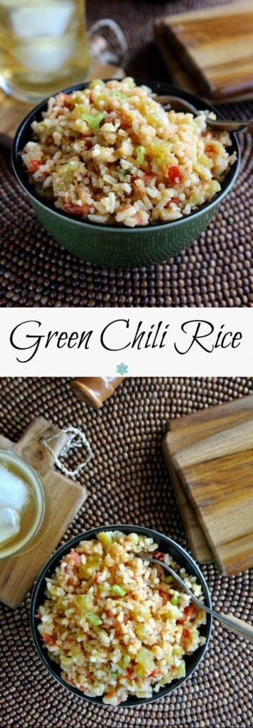 Two photos one above the other with a side view and an overhead view of a bowlful of green chili rice. Iced teas is sitting on the side.