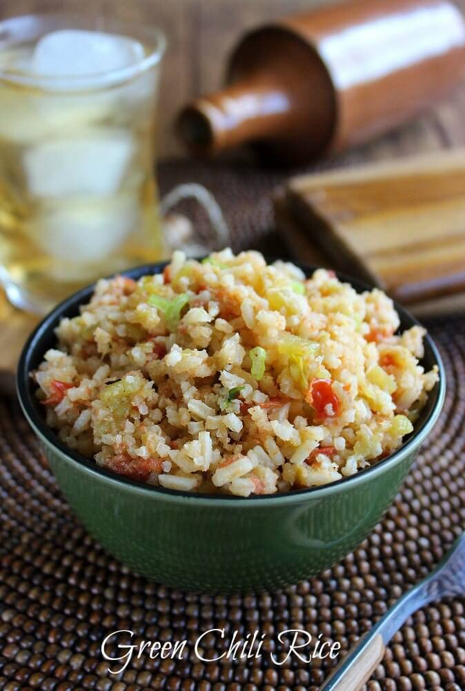 Green Chili Rice is prepared like a flavorful soup and ends up as a fantastic side dish. Easy to make and devoured at the table.
