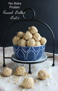 No Bake Protein Peanut Butter Balls are an easy and healthy treat that you can pop in your mouth when you are on the run. Only 5 Ingredients.