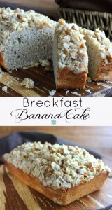 Breakfast Banana Cake is in two different photos with text in the middle.
