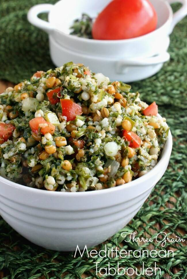Mediterranean Tabbouleh is fresh and filling. Very easy recipe. A little preparation and things are just tossed together. A really nice salad and side dish.