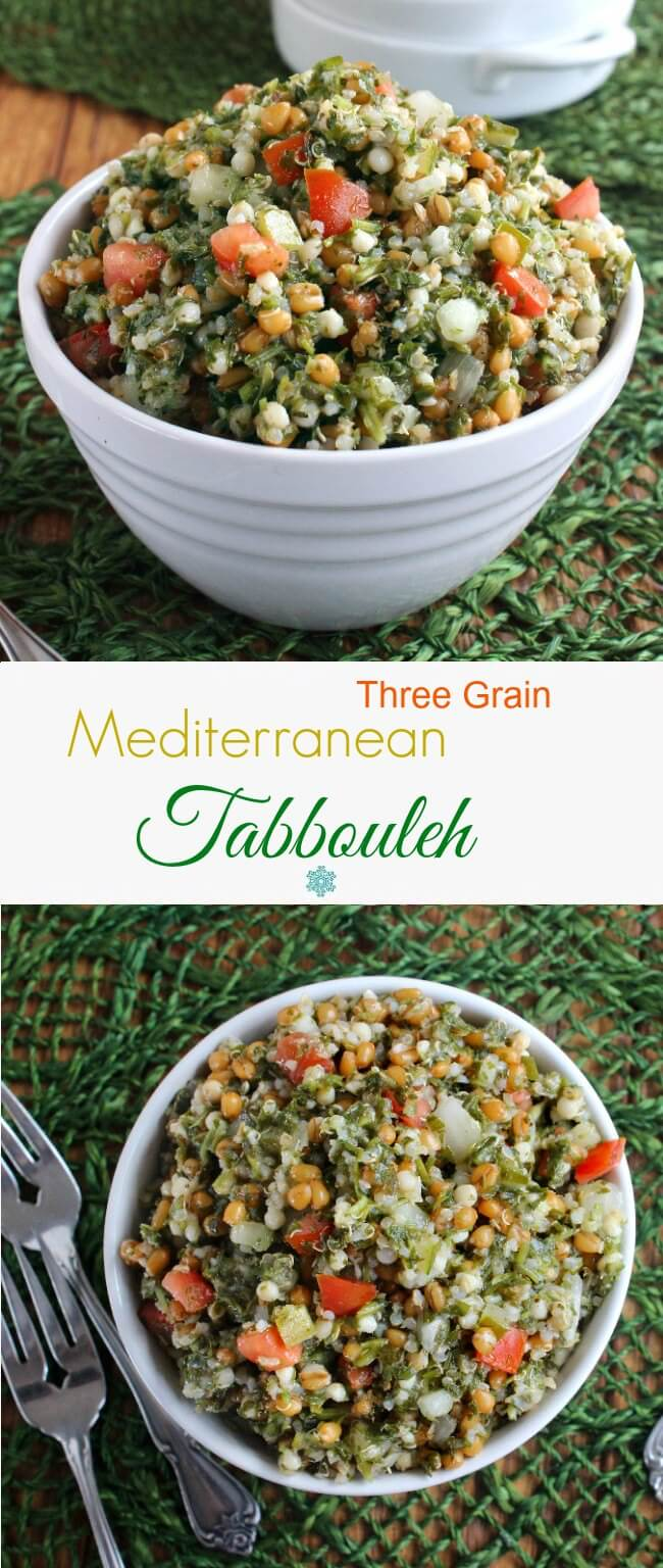 Mediterranean Tabbouleh is fresh and filling. Very easy recipe. A little preparation and things are just tossed together. Salad or Side!