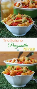 Italiano Panzanella Pasta Salad is light and healthy. Easy to make, a filling lunch and perfect for parties. The pasta even includes vegetables.