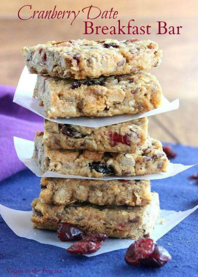 Cranberry Date Breakfast Bars are fruity and nutty. The contrasting textures and complementing flavors make this the breakfast bar of choice. Easy too.