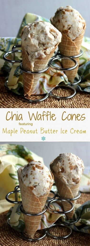 Chia Waffle Cones are mildly sweet and will hold as much ice cream as you want. Sturdy yet tender cones are pressed in an easy to find waffle cone maker.