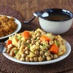 North African Couscous is rich in flavors and so easy to prepare.  Serve over infused couscous.