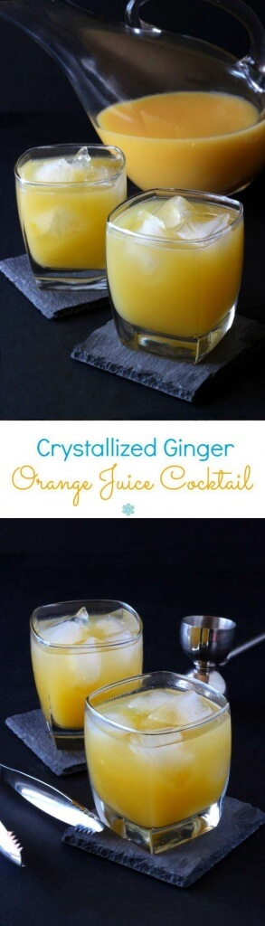 Crystallized Ginger Orange Juice Cocktail is a spicy sweet concoction that will have you wanting more. A fruity and refreshing recipe.
