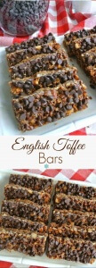 English Toffee Bars are chocolaty and perfect. Just imagine biting into the flavors of a classic favorite all rolled into a bar.
