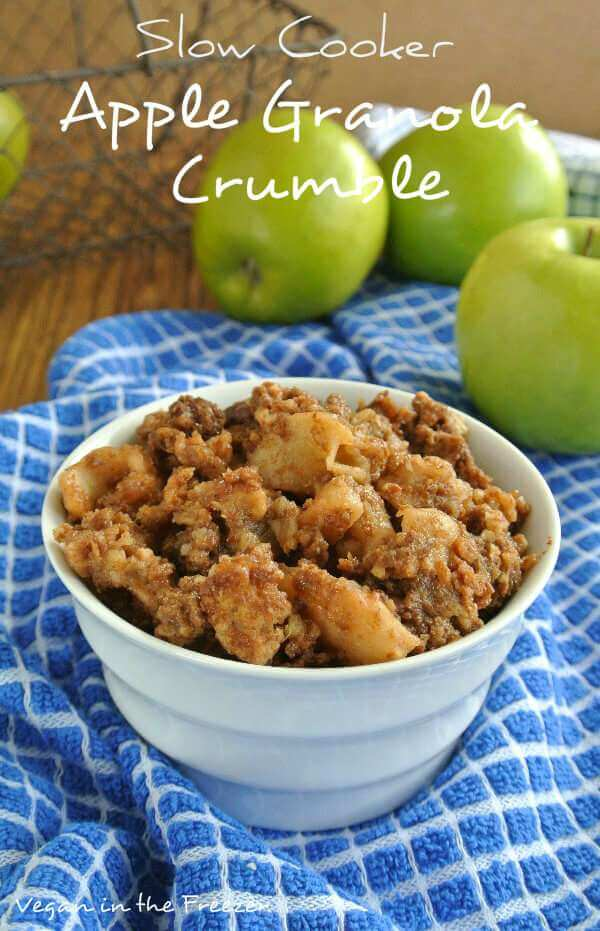Slow cooker apple granola crumble recipe vegan in the for Healthy vegetarian crock pot recipes easy