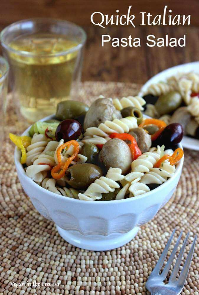 Quick Italian Pasta Salad is something you can be enjoying within 15 minutes! Rotini pasta tossed with easy to find ingredients for a fresh and cool side dish.