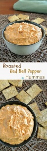 Everybody loves Roasted Red Bell Pepper Hummus. Yes, the guys too. Chickpeas and red bells is a great dip that goes with chips or vegetables.