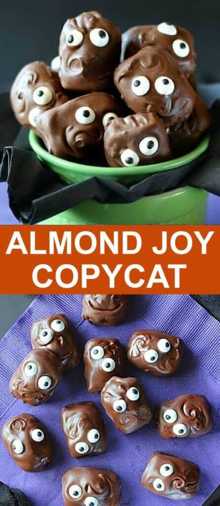 Chocolate bars with googlie eyes on a green bowl and purple napkin.