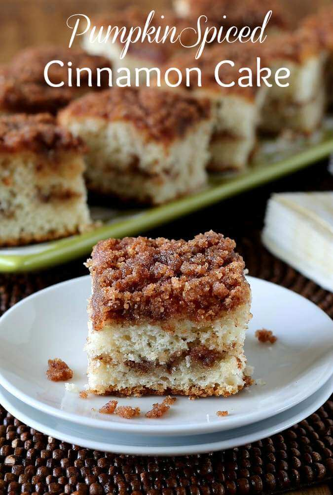 Pumpkin Spiced Cinnamon Cake is light and fluffy. Layered with a cinnamon sugar streusel that has been tinged with the spices of a pumpkin pie.