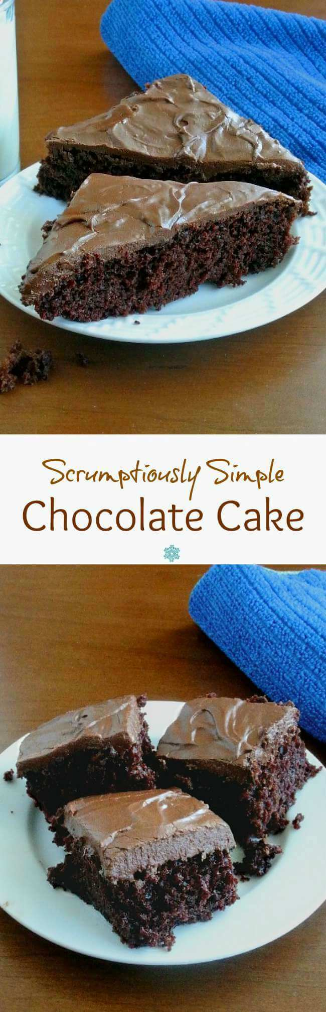 Simple Chocolate Cake says it all. Bake in a 9