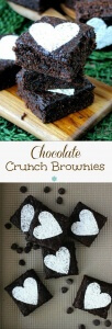 Chocolate Crunch Brownies are rich with chips of chocolate in every bite. 24 huge squares and they couldn't be easier.