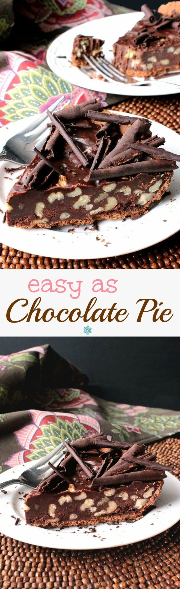 A photo of no bake chocolate pie with text for pinning.