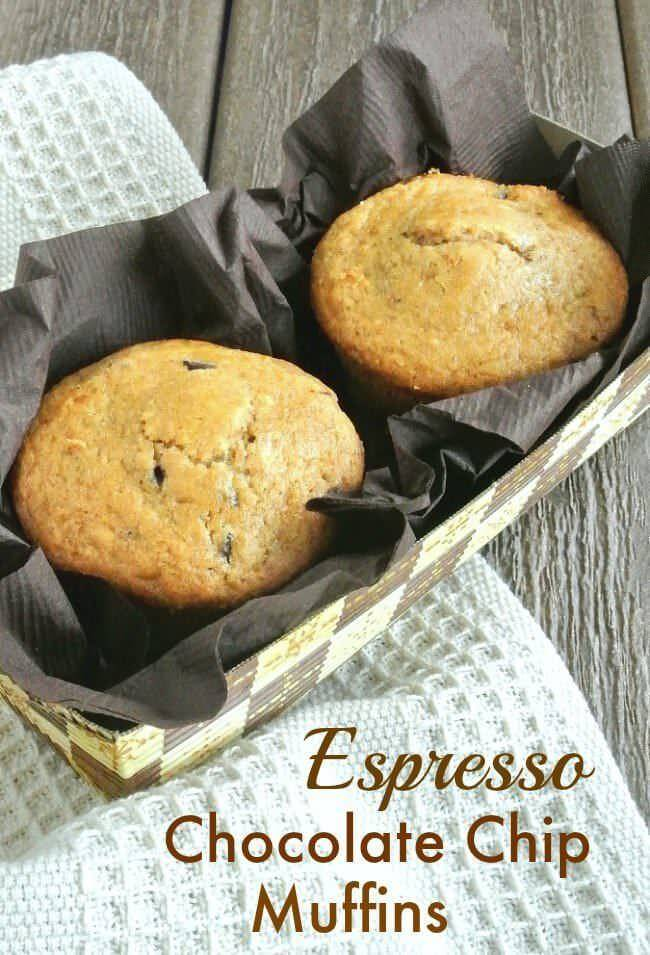 Espresso Chocolate Chip Muffins are deep rich muffins - just what they sound like. Easy to make and you deserve that extra oomph of chocolaty goodness.