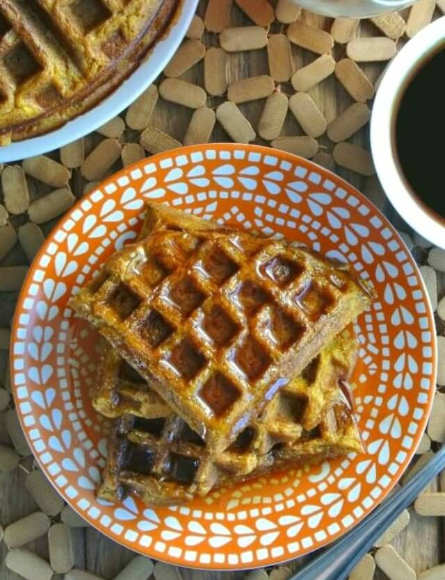 Easy Pumpkin Waffles have all the seasonings of a pumpkin pie. Really good flavor and texture that you can top with your favorite syrup.