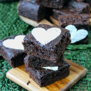 Chocolate Crunch Brownies are rich with chips of chocolate in every bite. Dust a sugar heart for some love.