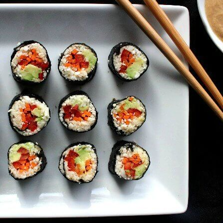 Sushi Maki Rolls are one tasty bite that can be dipped in peanut sauce for even more happiness.