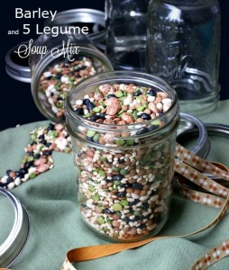 Barley and 5 Legume Soup Mix is an easy and updated gift. So pretty on the counter or fill jars as a gifts.