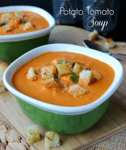 Potato Tomato Soup is rich with flavor and a recipe that will keep you coming back for more. Fresh veggies and seasonings make this a creamy and hearty meal.