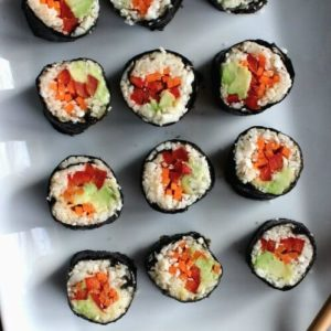 Sushi Maki Rolls are one tastybiteall rolled up and can be dipped inpeanut sauce for evenmorehappiness.