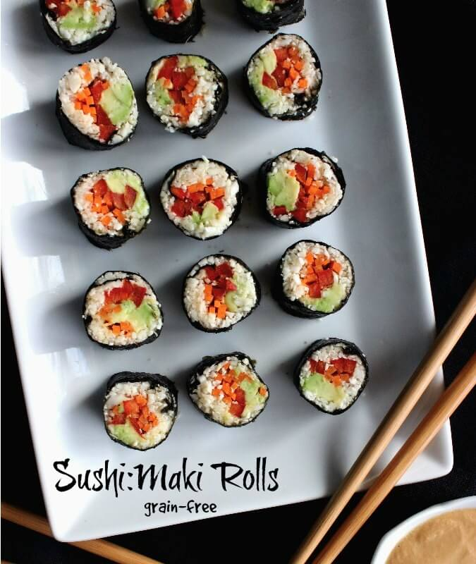 Sushi Maki Rolls are easy, light, healthy and there are made with cauliflower. One tasty bite that can be dipped in peanut sauce for even more happiness.