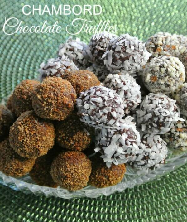 Chambord Chocolate Truffles have the famous liqueur's raspberry flavor along with deep rich chocolate and just a touch of maple syrup.