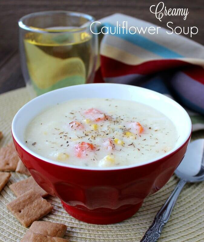 Creamy Cauliflower Soup is so delicious. Warm and creamy with the sweetness of carrots and corn added for texture. Very satisfying!