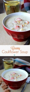 Dairy-Free Cauliflower Soup is so delicious. Warm and creamy with the sweetness of carrots and corn added for texture. Easy, beautiful and satisfying!