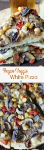 Vegan Veggie White Pizza is a great way to change up regular tomato pizzas. Stack veggies as thick as you like!