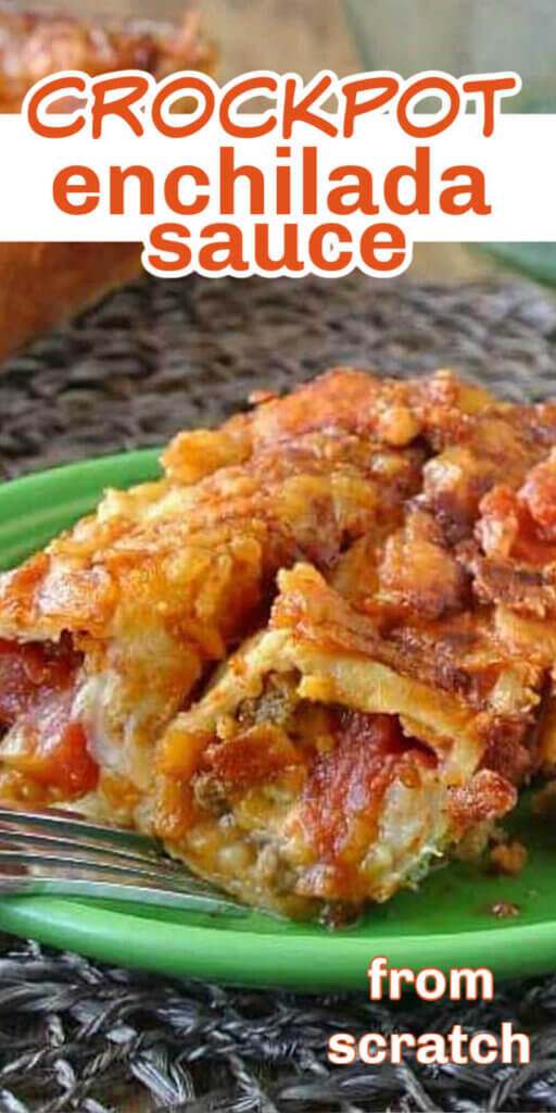 Close up of vegetable enchladas with homemade enchilada sauce with text above for Pinterest.