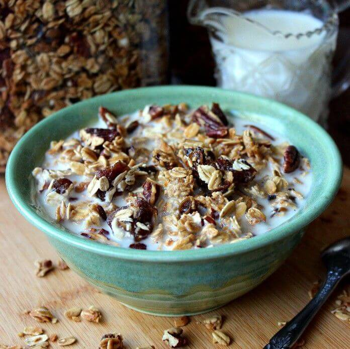 Date Bar Granola is a comforting breakfast meal.