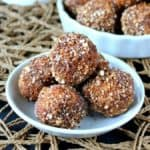 Cashew Sugared Donut Holes is an original. Little round deep fried donuts are rolled in a coconut maple flavor mixture.