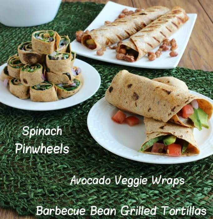 Spinach Pinwheels, Avocado Veggie Wraps & Barbecue Bean Grilled Tortillas are fantastic!