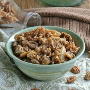 Slow Cooker Apples and Oats is apples with cinnamon and coconut sugar.