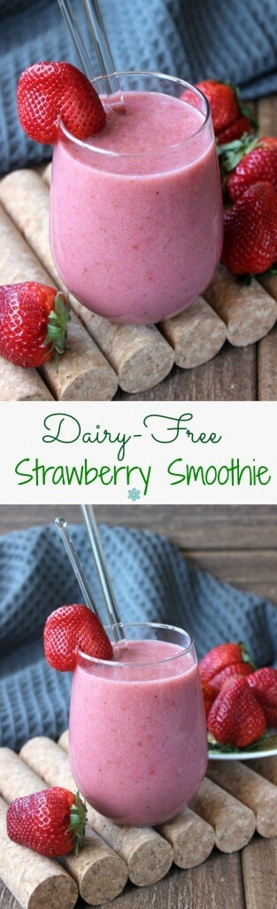 Dairy-Free Strawberry Smoothie is perfect for the plant based diet. It has only 4 ingredients and takes less than 5 minutes. There is just a bit of maple syrup for this fruit packed treat.