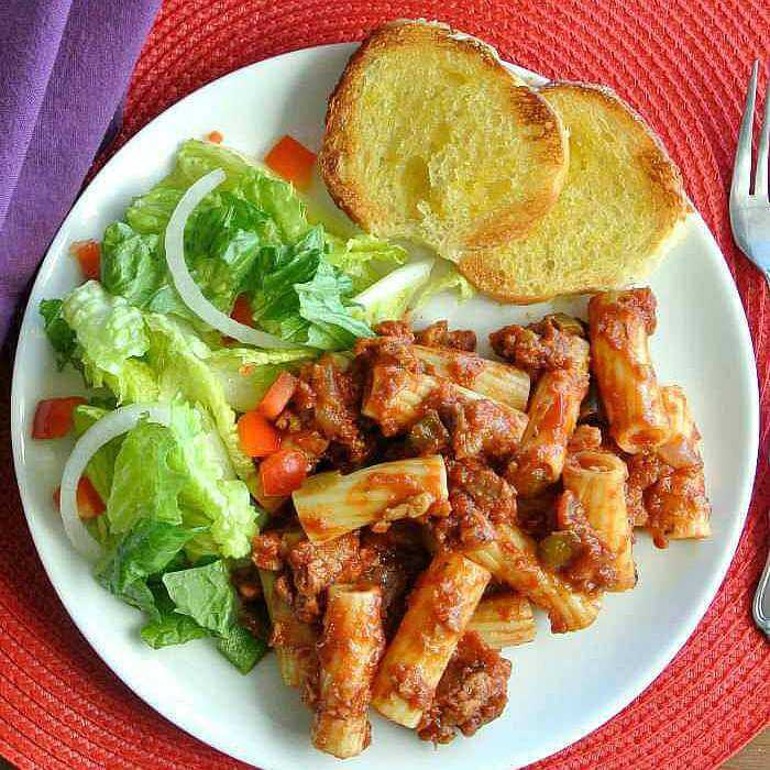 Pizza Pasta Sauce is made from scratch with a blend of red spaghetti sauce and the flavors of a red pizza sauce.