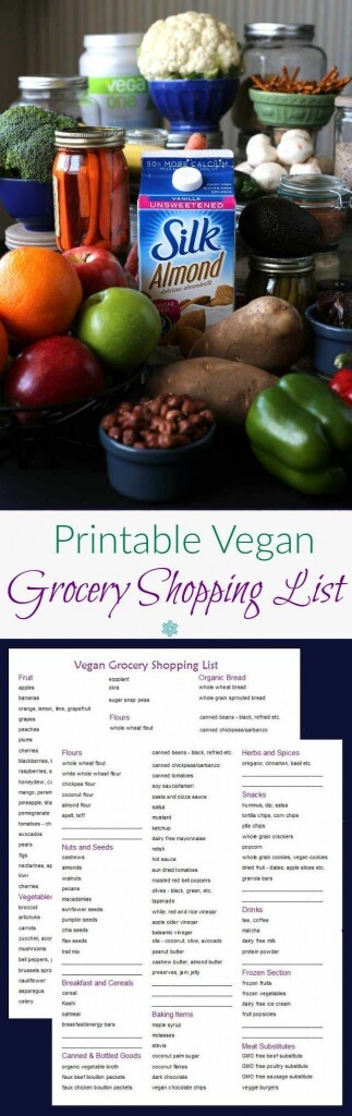 Free Printable Vegan Grocery Shopping List – a two sided grocery list that will help you never forget an item again. A wonderful way to be easily organized.