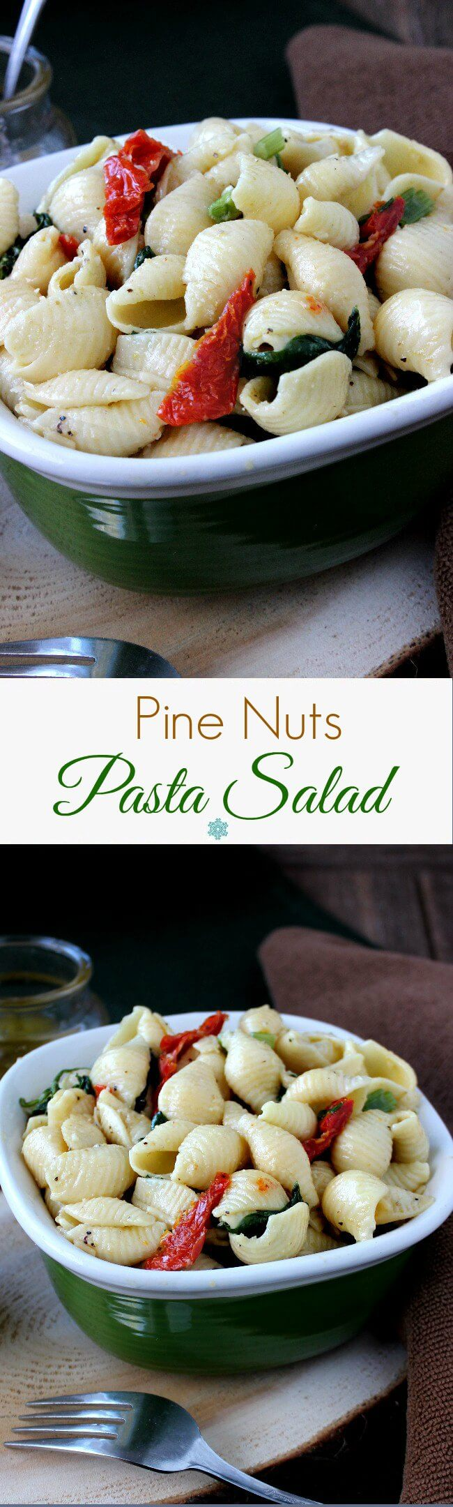 Pine Nuts Pasta Salad is popular, flavorful and easy. Toasted pine nuts are readily available & this vinaigrette brings it all over the top.