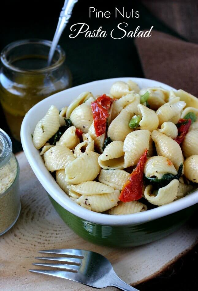 Pine Nuts Pasta Salad is popular, flavorful and easy. Great for a side dish or picnicking and this vinaigrette takes it over the top.