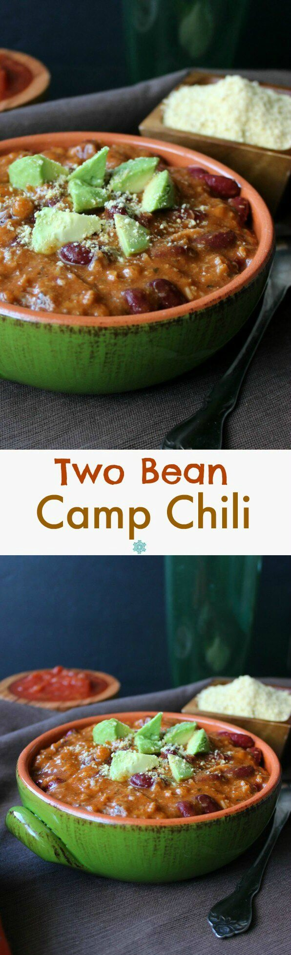 Two Bean Camp Chili is a fun main or side dish that can enhance any meal or party. It has deep rich flavors of homemade tomato sauce that is created and thickens as the big pot of chili cooks.